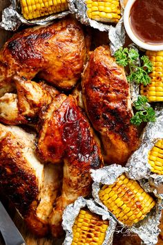 Bring your favourite Nando& chicken to the table with this Portuguese BBQ Peri Peri Chicken Recipe! PLUS the addition of juicy corn cobs in foil packets! Nando's Recipes, Copycat Recipes, Whole Food Recipes, Cooking Recipes, Wing Recipes, Recipies, Nando's Chicken, Grilled Chicken Recipes, Grilled Meat