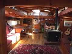 wooden trawler yachts at DuckDuckGo House Boats For Sale, Wooden Boats For Sale, Canal Boat, Canal E, Houseboats For Sale Uk, Barge Interior, Utility Boat, Sailboat Interior, Living On A Boat