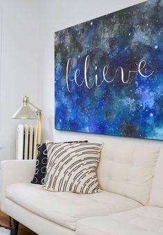 "Ana Victoria Calderon's blue watercolor canvas print with hand-lettered ""Believe"" via @greatbigcanvas at GreatBIGCanvas.com."