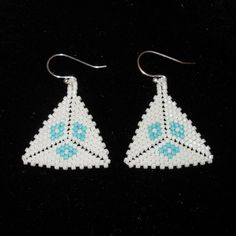 WHITE AND TURQUOISE DELICA BEAD TRIANGLE EARRINGS by NOSSUB GALLERY, via Flickr