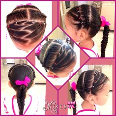 Zigzag  and braid hairstyle for little girls