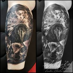 Crow raven skull clock calf tattoo