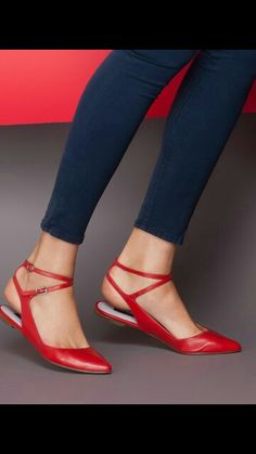 Red strappy flats/mules