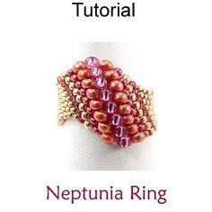 Neptunia Odd Count Peyote Stitch Beaded Ring Tutorial Pattern | Simple Bead Patterns