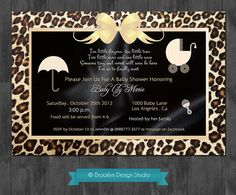 Baby Shower Leopard Print Custom Designed Invitation Unisex-Boy or Girl - Black Satin, Gold and Leopard Print - Digital File Cute Baby Shower Ideas, Baby Shower Crafts, Baby Shower Favors, Baby Shower Invitations, Baby Ideas, Invites, Baby Lane, Baby Shower Photography, Baby Event