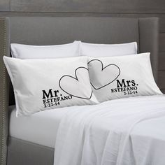 Mr and Mrs Pillowcases Personalized Wedding  Anniversary Engagement or Bridal Shower Gift Idea for Couples