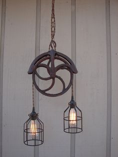 Upcycled Vintage Well Pulley Pendant Light with Bulb Cages.