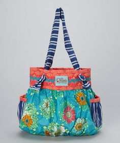 Another great find on #zulily! Turquoise & Coral Phoebe Tote Bag #zulilyfinds