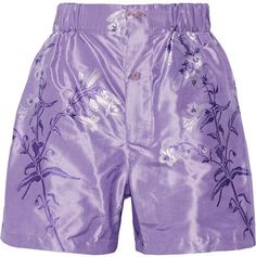 Miu Miu - Floral-print Silk-jacquard Shorts - Lavender  Details: Miu Miu's shorts debuted on the label's Fall '16 runway in Paris. This lustrous pair is woven from lavender, purple and white silk-jacquard and cut for a loose fit. It sits comfortably at your natural waist and has an elasticated waistband.