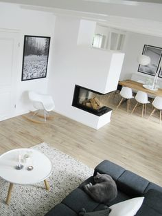 Modern living space with clear structures and functional des .- Moderner Wohnraum mit klaren Strukturen und funktionalem Design – Modern Wohne… Modern living space with clear structures and functional design – Modern living – - Living Room With Fireplace, Living Room Grey, Home Living Room, Living Room Decor, Living Spaces, Grey Fireplace, Living Area, Scandinavian Home, Home And Deco
