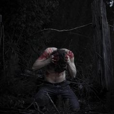 "((Open, someone be the guy? You can choose what he ""really is"")) I frantically run around the woods trying to find you. We were just hanging out when you suddenly got up and ran into these woods. ""Alec!"" I call, hoping for a response. I stop dead in my tracks when I see you. With blood on you and holding your head in your hands, I could tell you were in a lot of pain. ""A-Alec...?"" I say quietly ""Go, leave me and run"" You snap, not looking up ""But-"" I try to say but you cut me off ""For once…"