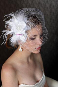 BIRDCAGE VEIL Feathers flower crystals Bridal veil So by klaxonek, $119.00