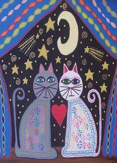 IMPRESIÓN de arte popular mexicano de Kerri Ambrosino gatos hechizo de Luna Luna estrellas fugaces amor