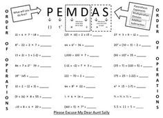 This 2 page worksheet includes problems to practice using the order of operations. Pemdas Worksheets, 5th Grade Worksheets, Integers Worksheet, Math Strategies, Math Resources, Math Activities, Writing Algebraic Expressions, Fifth Grade Math, Grade 3