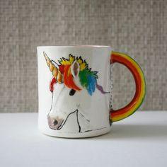 Unicorn Mug handmade hand-built coffee mug tea cup by hadleyclay