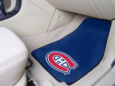 """NHL 2 Piece Novelty Carpeted Car Mats Size: 1'6"""" x 2'3"""", NHL Team: Montreal Canadiens  https://allstarsportsfan.com/product/nhl-2-piece-novelty-carpeted-car-mats-size-16-x-23-nhl-team-montreal-canadiens/  Made in the USA 100 Nylon Face Non-Skid Recycled Vinyl Backing"""