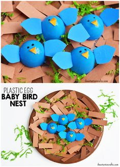 Make russian nesting dolls out of plastic easter eggs and for Baby bird nest craft