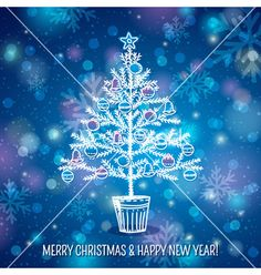 Blue background with christmas tree vector  - by sunnyfrog on VectorStock®