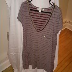 Andrew Charles Low V-Neck Shirt Burgundy and Gray Strips with Gold Sequence Andrew Charles Tops