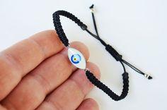 Turkish Evil eye bracelet  black string by PrettyTurkishThings
