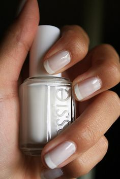 gorgeous, subtle French. Marshmallow & Blanc French Manicure by Essie. 2 coats of Marshmallow. A coat of Blanc on tips; use a piece of tape to cover the entire nail but the tip to make clean, consistent lines. Followed by an Essie Topcoat.