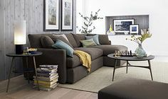 Brown sofa, blue and gold accents