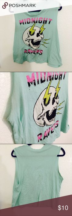 🚫SOLD🚫Midnight Ravers Skull Graphic Tank 🚫SOLD🚫Size L. Urban outfitters brand. Paid $50 at the time. 🔴Very worn condition!🔴Has a stain and some piling on the underarms. Still one of my favorite shirts! It's a size L but more like a baggy M. Urban Outfitters Tops Muscle Tees