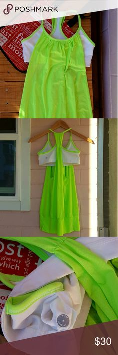 SIZE 4 LULULEMON NO LIMITS TANK *lime green & white tank *size 4 *euc with one minor flaw in stitch (see pic 4) *perfect tank for any workout *comes from a smoke-FREE & pet-FREE home lululemon athletica Tops Tank Tops