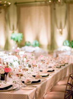 elegant ballroom wedding reception   gold rim glassware   tablescape   ivory linens, dark grey napkins