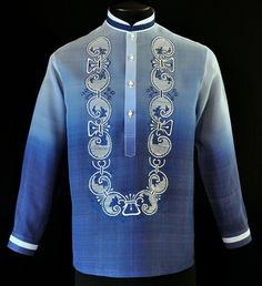 Take to the next level of style by adding this new design of complete with monochromatic color. Color: Monochromatic Navy Blue Chinese with pintuck collar, cuff buttons Traditional four-open button front embroidery Formal fit Barong Tagalog Wedding, Filipiniana Dress, Philippines Fashion, Line Shopping, Groom Outfit, Traditional Outfits, Aesthetic Clothes, Burgundy, Fashion Outfits