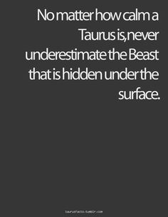 No matter how calm a Taurus is, never underestimate the Beast that is hidden under the surface
