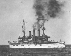 December 16, 1907: USS Connecticut Battleship BB-18 departing Hampton Roads, Virginia for the around the world cruise of the Great White Fleet. Connecticut served as the flagship for the Jamestown Exposition in mid-1907, which commemorated the 300th anniversary of the founding of the Jamestown colony. She later sailed with the Great White Fleet on a circumnavigation of the Earth to showcase the US Navy's growing fleet of blue-water-capable ships.