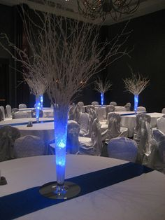 Winter Wonderland Centerpiece (we could get frost spray paint for the glass vases @Tammy Tarng Tarng Tarng Jones)