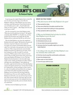 Worksheets: The Elephant's Child: Reading Comprehension