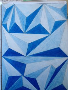 Blue Triangles Op Art