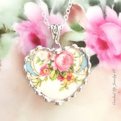 Broken China Jewelry, Broken China Necklace, Pink Rose, Floral China, Recycled China Necklace, Steubenville Pottery, Heart Necklace