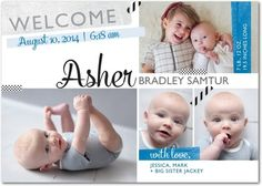 Welcome Collage - Boy Photo Birth Announcements - Umbrella - Oasis Blue #baby