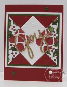 handmade card crd: Quilt Card Christmas ... clever layering ... luv the design ... Stampin' Up!
