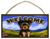 Yorkie Puppy Wooden Welcome Sign