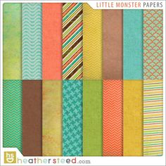 Little Monster Digital Scrapbooking Papers on Etsy