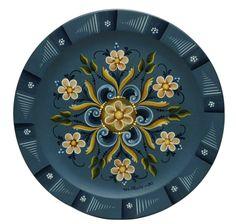 "Vi Thode Rogaland Plate oil on wood 10"" diameter 1980 National Museum of Decorative Painting in Atlanta, GA www.dpmuseum.org"