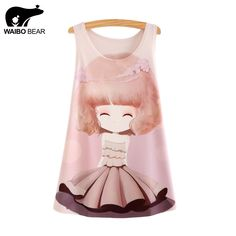 New Fashion Tank Tops Summer tees Women Dress girl Print Sleeveless T shirt Casual Women Clothing