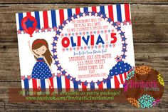 4th of July Birthday Party Invitation - Independence Day Party Theme-Kid's (boy or girl) 4th of July Theme Birthday invites