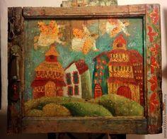 Пейзаж ручной работы. Ярмарка Мастеров - ручная работа. Купить Весна работа на старинных досках. Handmade. Бирюзовый, стариная дверь
