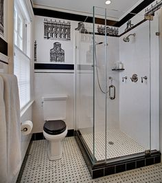 An art deco bathroom has everything that any other restroom has. The materials and textures used are a key element of art deco bathroom design. Art Deco Bathroom, Bathroom Tile Designs, Bathroom Design Small, Bathroom Interior Design, Bathroom Ideas, Bathroom Remodeling, Bathroom Colors, Colorful Bathroom, Shower Bathroom