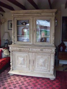 Magnificent Antique hand painted French glazed Dresser, Bookcase, Cupboard.   eBay