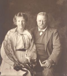 """Theodore Roosevelt and his wife Edith strike a characteristic pose. A prolific reader, Teddy keeps his place marked in the book he's holding.