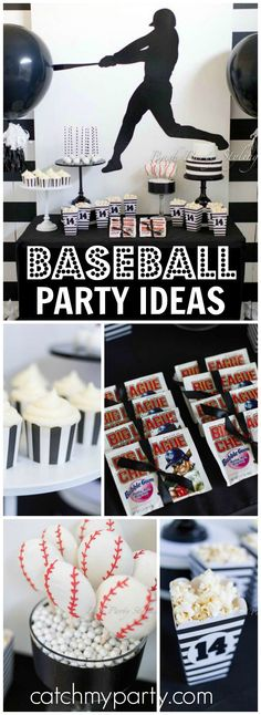 Check out this modern black and white baseball party! See more party ideas at CatchMyParty.com!