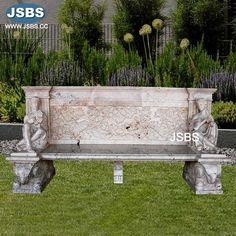 Sculpture Garden Bench www.jsbluesea.com info@jsbluesea.com whatsapp|wechat:0086-13633118189 #bench #stonebench #gardenbench #jsbsmarble #jsbsstone #JSBS #renovation #restoration #marbledecor #housedecor #gardendecor Marble Columns, Stone Columns, Marble Fireplaces, Fireplace Mantels, Happy National Day, Marble Carving, Chinese Valentine's Day, Stone Fountains, Stone Veneer
