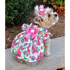 Fuchsia Flower Dog Dress